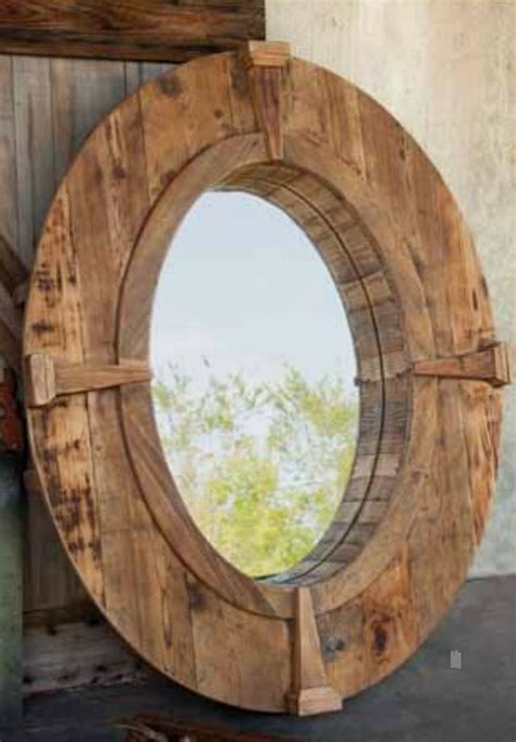 Rustic Oval Wooden Farm Mirror with Wood Frame and